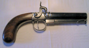 Click to enlarge a Birmingham prooved un-named 28 bore side hammer manstopper percussion pistol