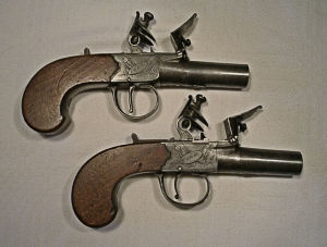 Click to enlarge a pair of 40 bore flintlock boxlock pistols by I. Pratt of York