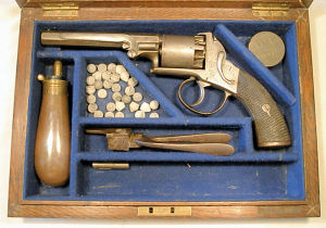 Click to enlarge a cased 80 bore Birmingham prooved Webley Bentley type double action revolver