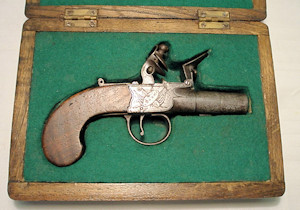 Click to enlarge a boxlock flintlock pocket pistol by Wood of York