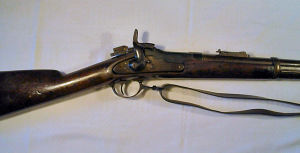 Click to enlarge a very rare Colt .56 rimfire breech loading conversion of a Model 1853 percussion carbine