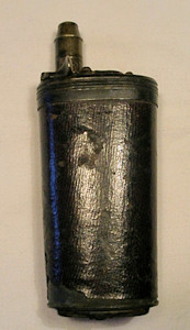 Click to enlarge a leather covered 3 way flask of the type cased with flintlock duelling pistols