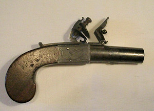 Click to enlarge a 38 bore boxlock flintlock boxlock pocket pistol with turn-off barrel by Prosser of Charing Cross
