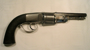 Click to enlarge a rare Harvey's Patent 54 bore double action six shot percussion revolver