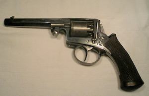 Click to enlarge a fine 120 bore Adams Patent percussion revolver made under license in Liege