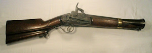 Click to enlarge a steel barrelled Spanish miquelet lock percussion blunderbuss