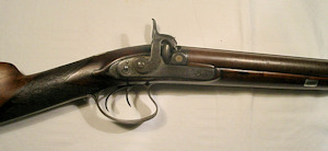 Click to enlarge a double barrelled 16 bore percussion shotgun by Forsythe