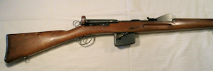 Click to enlarge a fine 7.5 x 53.5 straight pull Schmidt Rubin Swiss battlefield rifle