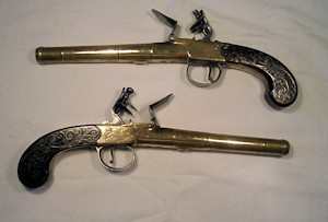 Click to enlarge a very good pair of 25 bore flintlock boxlock turnoff barrel holster pistols by Bunney