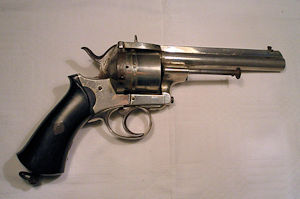 Click to enlarge a six shot 12mm double action Francotte pinfire revolver