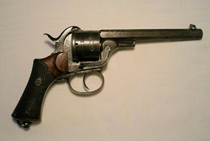 Click to enlarge a double action 12mm. six shot pin fire revolver by Comblain