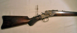 Click to enlarge a very fine Remington Hepburn falling block target rifle in 38-40 Remington Hepburn
