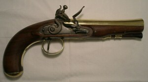 Click to enlarge a brass barrelled flintlock blunderbuss pistol by Moore